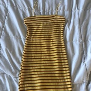 Striped yellow tube dress